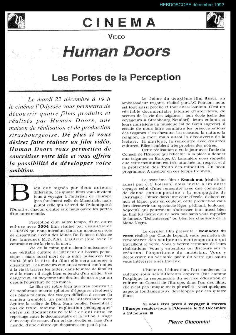 presse human doors productions films